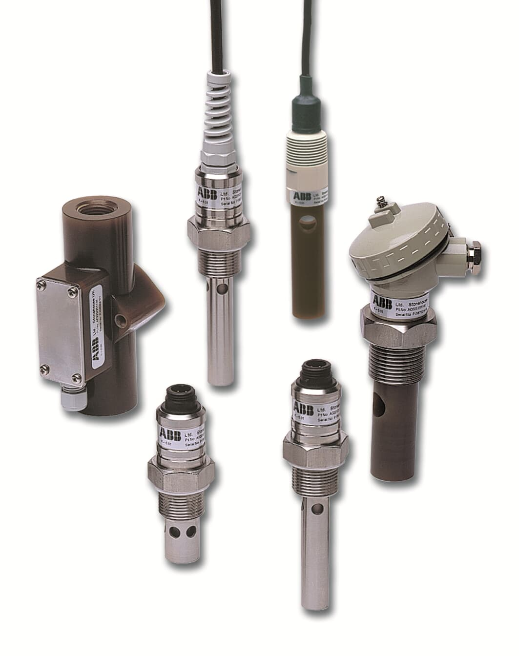 (Clockwise starting from left). AC212 carbon/epoxy flow-through, AC220 stainless steel fixed cable, AC213/0  carbon/epoxy submersible, AC210 carbon/epoxy terminal head, AC220 stainless steel detachable cable – cell constant (K) = 0.01, AC220 stainless steel detachable cable – cell constant (K) = 0.01