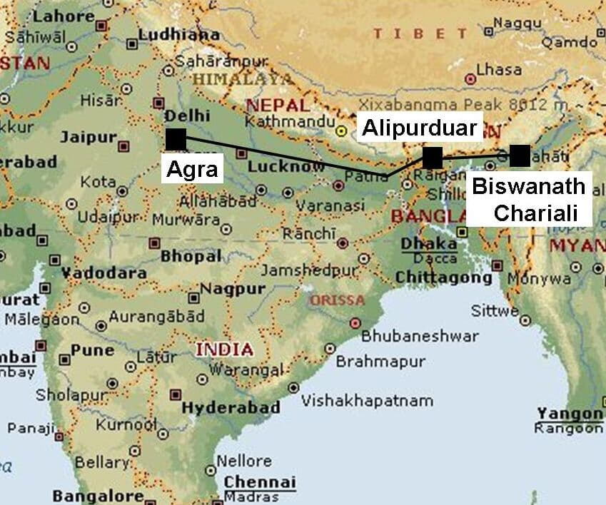 Map of  6,000 MW UHVDC project North-East - Agra, India with converter stations: Biswanath Chariali, Alipurduar and Agra.