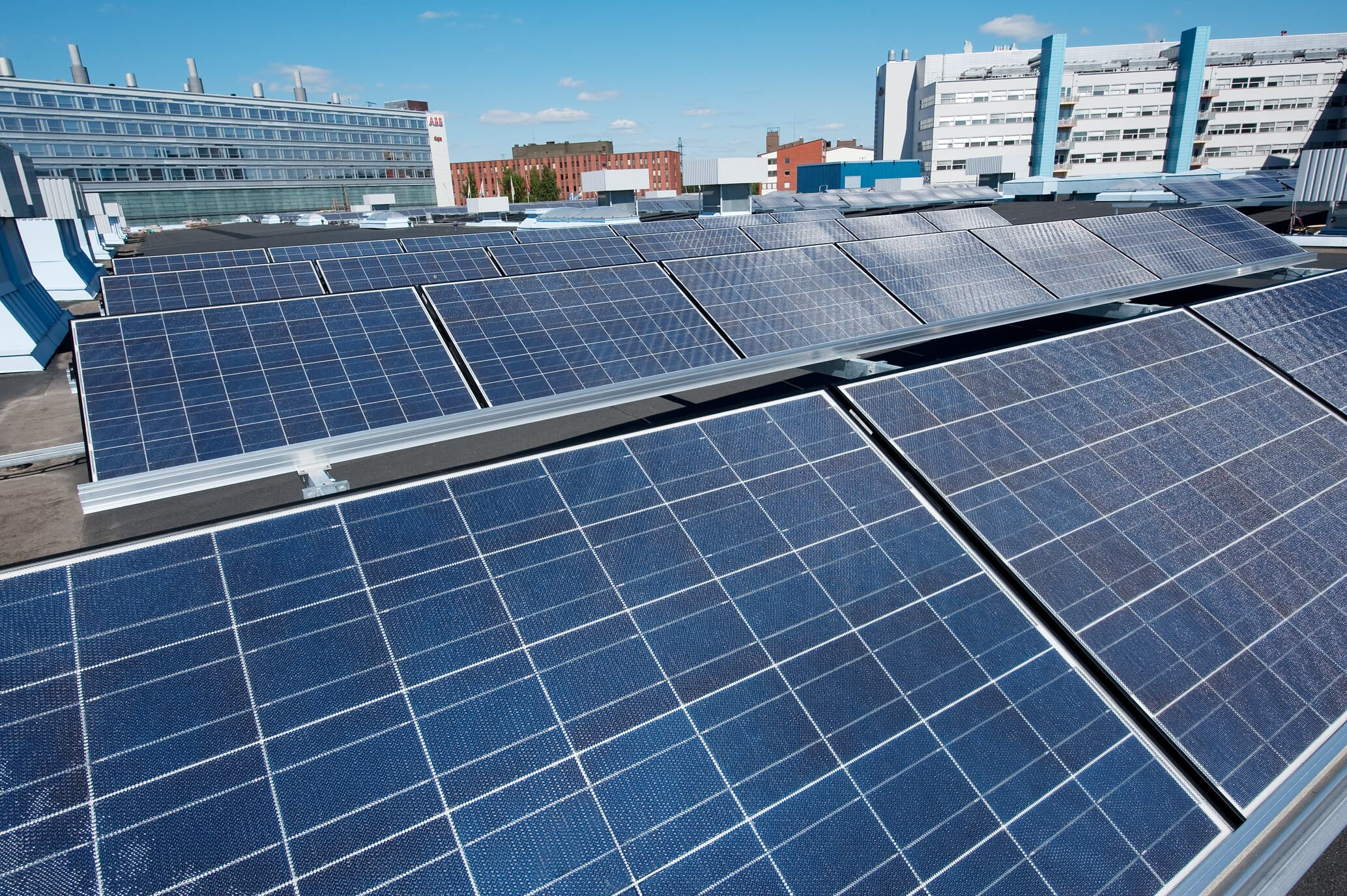 Solar panels on the roof of ABB factory Helsinki