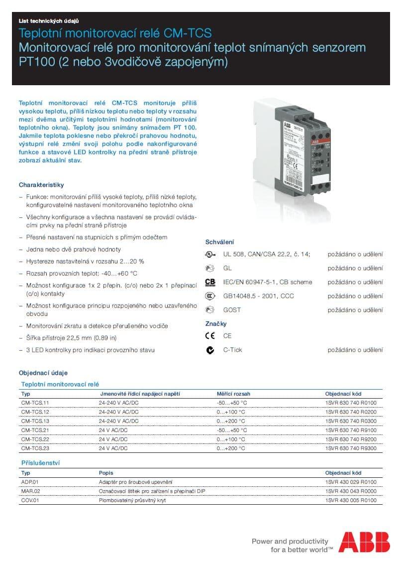 Teplotní monitorovací relé CM-TCS