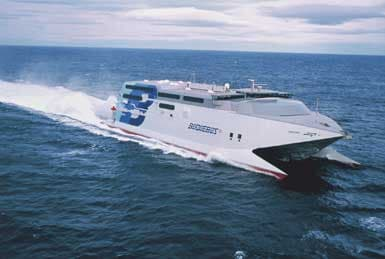 Buquebus Line's fast ferry Catalonia, with eight TPL65A turbochargers on its four caterpillar 3618 engines, broke the record for the quickest surface transatlantic crossing<br>in 1998.
