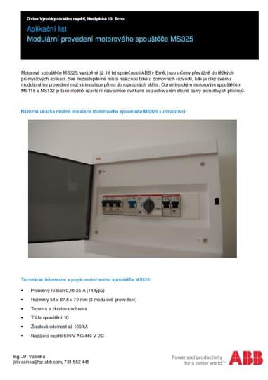 Modulární provedení motorového spouštěče MS325 - Aplikační list