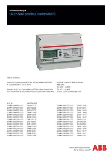 Ukončení prodeje elektroměrů Delta MAX